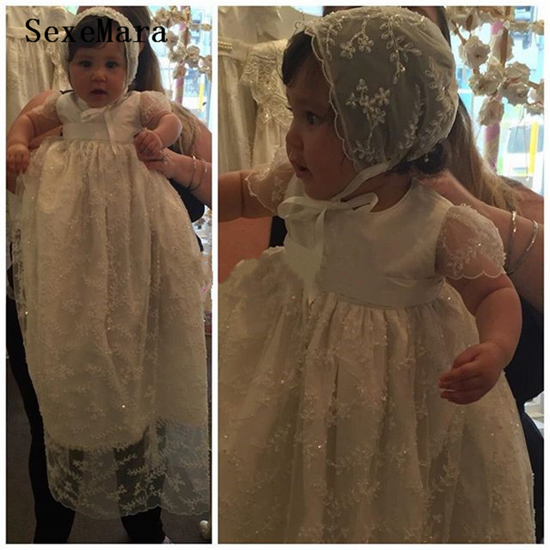 2019 Custom Made High Quality Baby Girls Baptism Gown Lace Beads Infant Christening Dress With Bonnet
