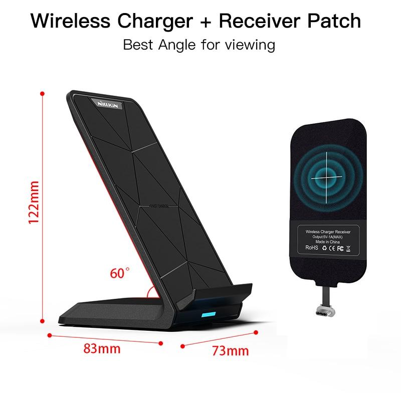 Almohadilla de carga de cargador inalámbrico Qi con parche receptor de carga Qi para iPhone 7/7 Plus/6 S/5S para Xiaomi para Samsung OnePlus 5T