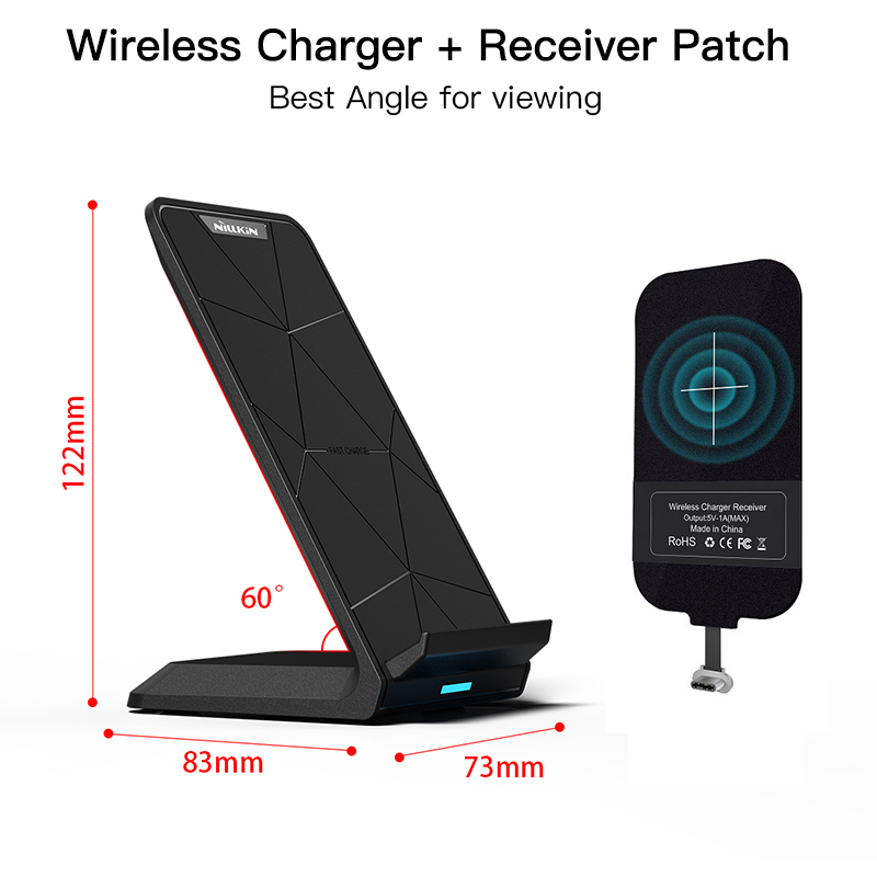 Qi Wireless Charger charging Pad with Qi Charging Receiver Patch for iPhone 7/ 7 Plus/ 6S/5S For Xiaomi for Samsung OnePlus 5T