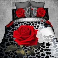 red rose flower black leopard skin printed girls bedding set 3d oil painting bed linen woven
