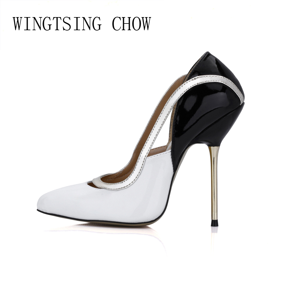 2016 New White Black Sexy Dress Party Shoes Women Pointed Toe Stiletto High Heels Work Office Lady Pumps Zapatos Mujer 3845A-c1 genshuo 2017 women sexy valentine pointed toe stiletto high heels shoes ladies wedding dress bridal designer pumps zapatos mujer