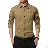Spring Autumn Cotton Military Style Mens   Shirts   Casual Slim Long Sleeve Men   Shirts