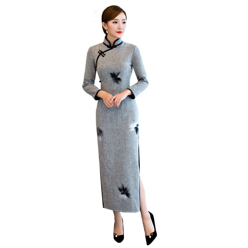 New Arrival Chinese Traditional Women Long Qipao Wool Cotton Cheongsam Novelty Chinese Formal Dress Size M