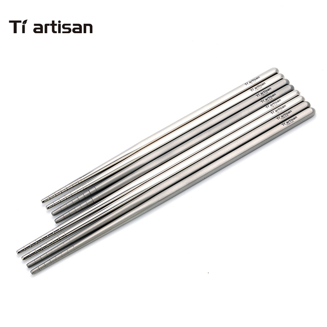 Tiartisan kitchen accessories Chinese Chopsticks Titanium Hollow Square Ultralight  Palillos Chinos Eco-friendly Tableware