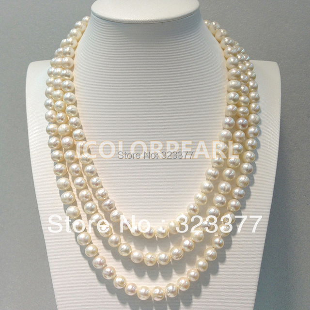 170CM/ 9-10MM Potato Round White Freshwater Pearl Sweater Necklace.Different Wearing Styes! Great Pearl Jewelry For Parties!
