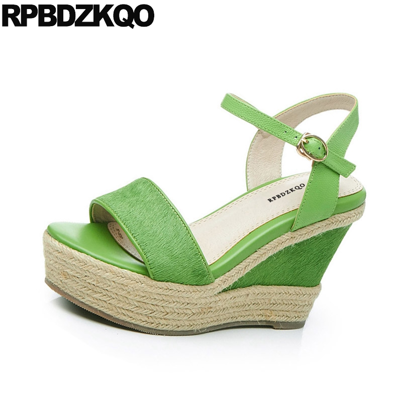 High Heels Genuine Leather Two Strap Sandals Pumps Green Rope Platform Espadrilles Open Toe Designer Women Wedge Shoes Horsehair slippers 2018 spring slip on high heels pumps rope espadrilles suede women wedge platform sandals shoes green designer slides