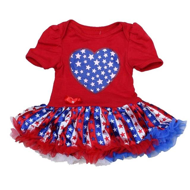 Amor de la bandera americana cuarto de julio del bebé de los mamelucos Ropa Bebe mono recién nacido Lace Petti del mameluco Dress Tutus embroma la Ropa del partido