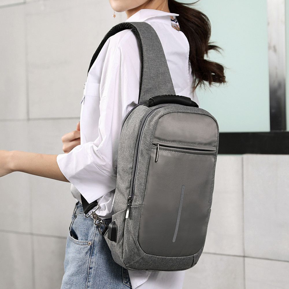 Multi-functional Crossbody Bag Casual Reflective Tape Chest Bag with USB JUNE1