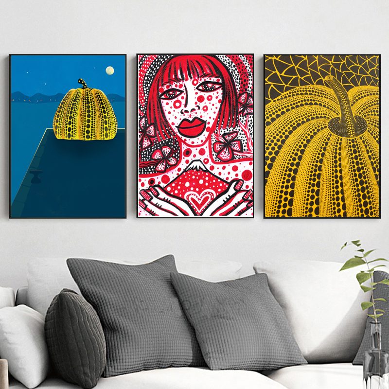 Yayoies Kusamaer Red Pumpkin Japan Style Canvas Posters Prints Wall Art Painting Oil Decorative Picture Modern Home Decoration