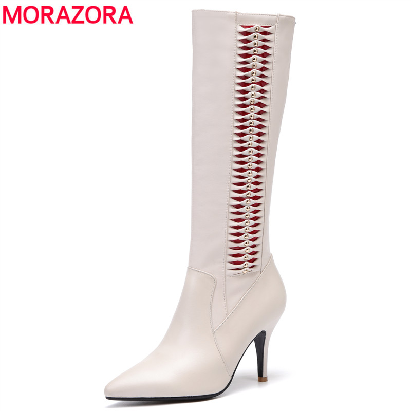 MORAZORA Brand 2018 High qulity PU add genuine leather boots sexy high heels knee high boots women winter ladies boots shoesMORAZORA Brand 2018 High qulity PU add genuine leather boots sexy high heels knee high boots women winter ladies boots shoes
