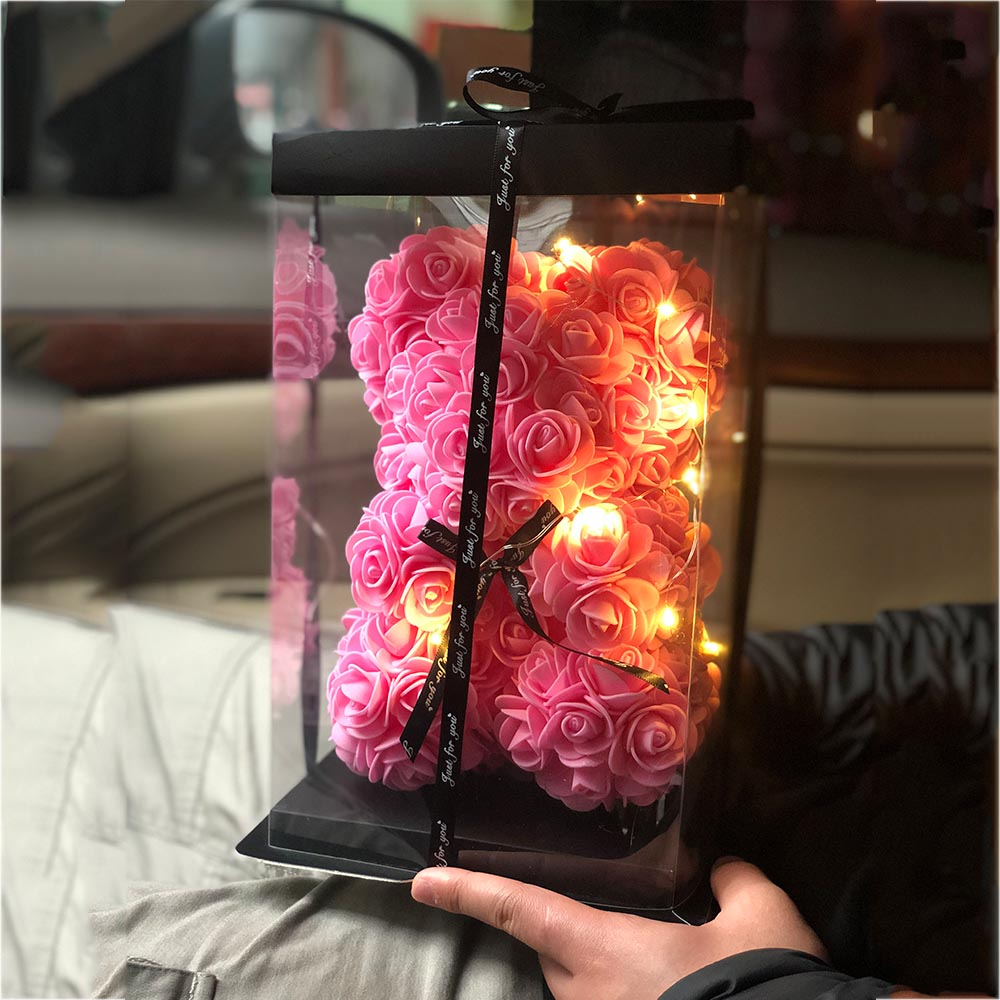 New 25cm Artificial Flowers Rose Bear Valentines Day Gift Girlfriend Anniversary Birthday Romantic Decorations