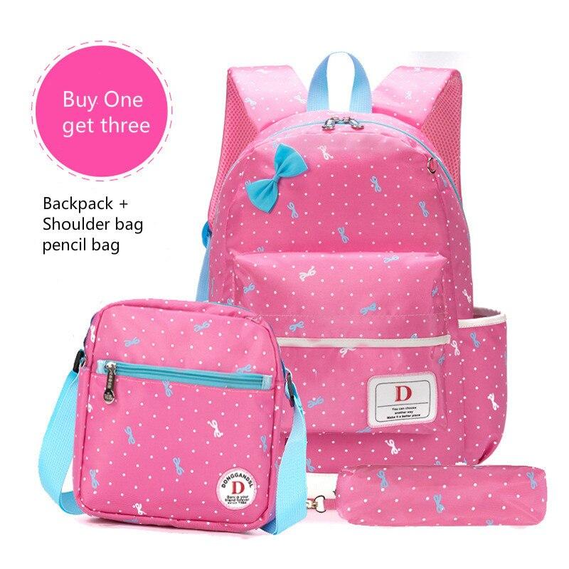 ФОТО School Bags For Girls Children Backpacks Dot Printing Bow Princess Primary Korean Backpack Kids Bag Schoolbag Mochilas 3pcs/set