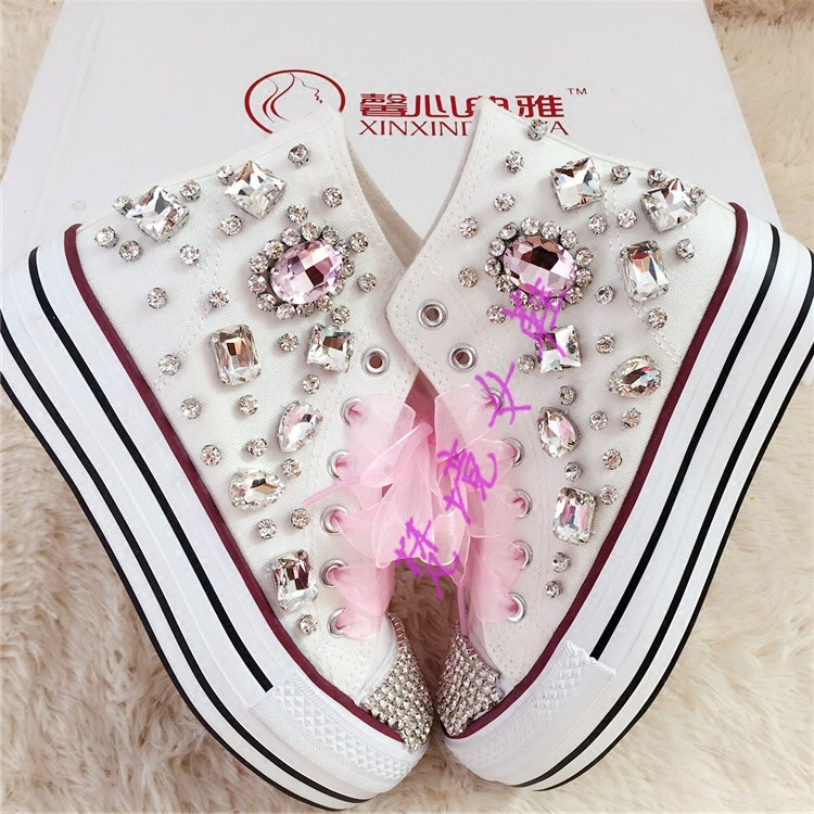 Silver Crystal and Rhinestone Beaded Women Vulcanize Shoes Ankle Boots Sneaker for Girls Lady Student Casual DressSilver Crystal and Rhinestone Beaded Women Vulcanize Shoes Ankle Boots Sneaker for Girls Lady Student Casual Dress