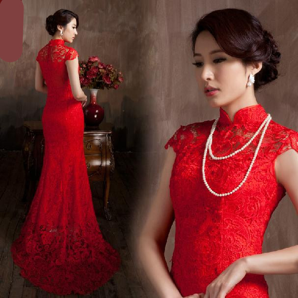 What Colours Not To Wear To A Wedding: Red Chinese Traditional Wedding Dress Water Soluble Lace