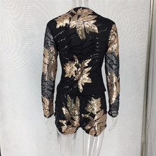 Sexy Sequin Black Two Piece Set 2018 Long Sleeve Gold Leaves Patterns Sequins Fashion Outfit 2 Piece Jacket Shorts Set Club Wear