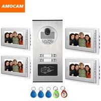 4 единицы Интерком квартиры система видео дверной телефон дверной домофон алюминиевый сплав камера 7 монитор видео дверной звонок 5 RFID карт