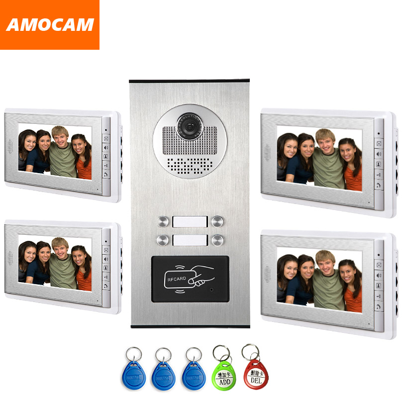 4 Units Apartment intercom system Video Door Phone Door Intercom Aluminum Alloy Camera 7 ...