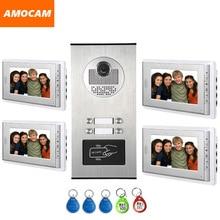 4 Units Apartment intercom system Video Door Phone Door Intercom Aluminum Alloy Camera 7″ Monitor video Doorbell 5-RFID Card
