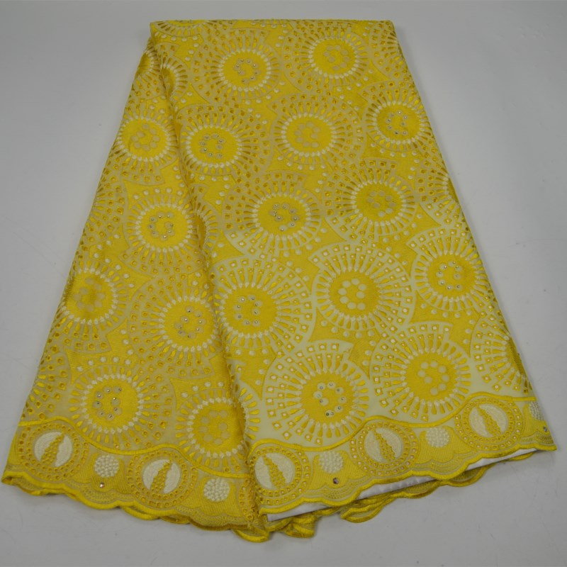 Hot selling High Quality Swiss Voile Lace Yellow swiss voile lace good quality design with stones cotton fabricHot selling High Quality Swiss Voile Lace Yellow swiss voile lace good quality design with stones cotton fabric