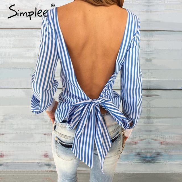 Simplee Verão sexy backless azul listrado mulheres blusas 2016 new casual meninas longas da luva blusa Oco out bow blusas