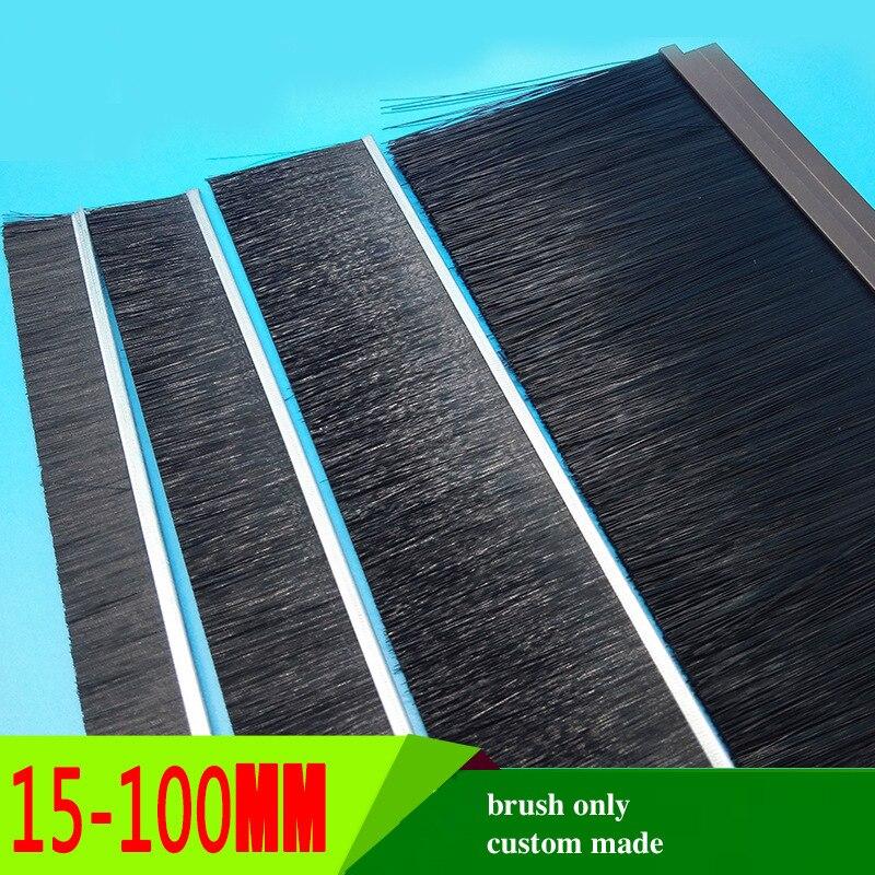 Custom Made Door Bottom Sweep Brush Seal Detachable Dismountable 15mm 20mm 25mm 30mm 35mm 40mm 50mm 100mm for h F Profile Black