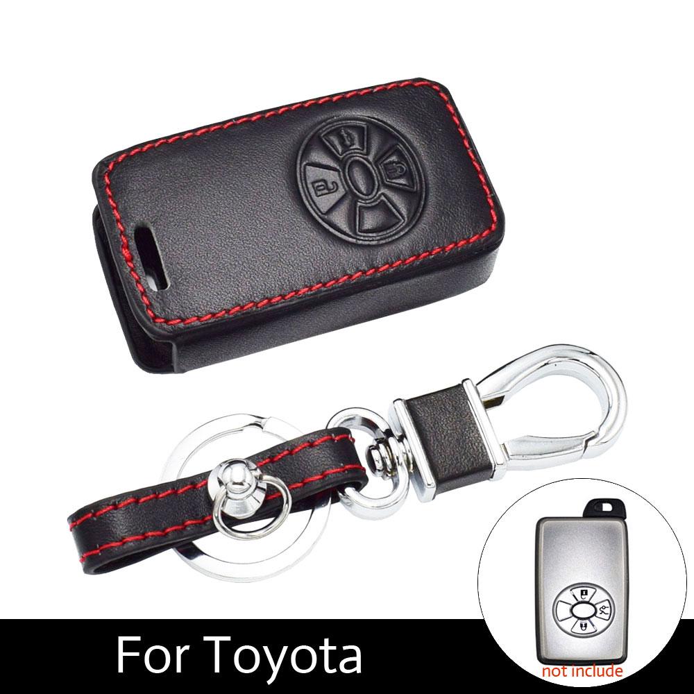 ATOBABI 3 Boutons Voiture Smart Key Cover Case Pour Toyota RAV4 2009 2011 RAV 4 Yaris 2011 Clés Keychain En Cuir cas avec Porte-clés