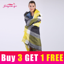 Jinjin.QC brand Winter Scarf 2017 Tartan Cashmere Women Plaid Blanket square Acrylic Basic Shawls Womens Scarves and wraps