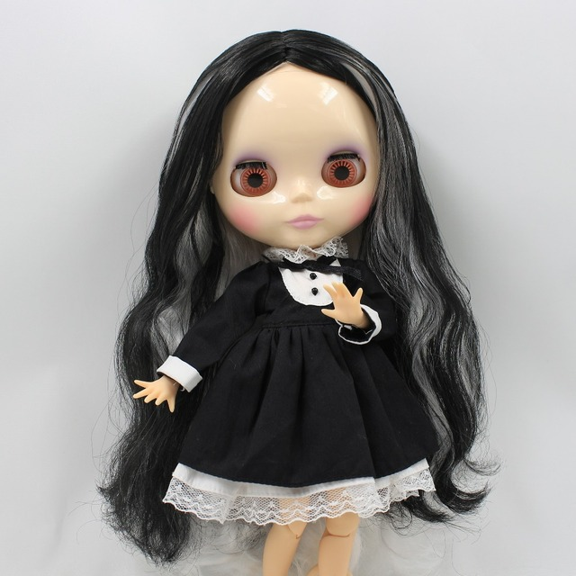 Factory Neo Blythe Doll White Black Hair Jointed Body 30cm