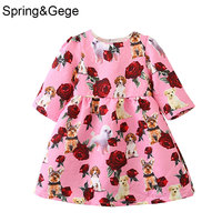 New kids Jacquard dresses for girls children clothing toddler girl dress long sleeve Flower animal print party princess costume