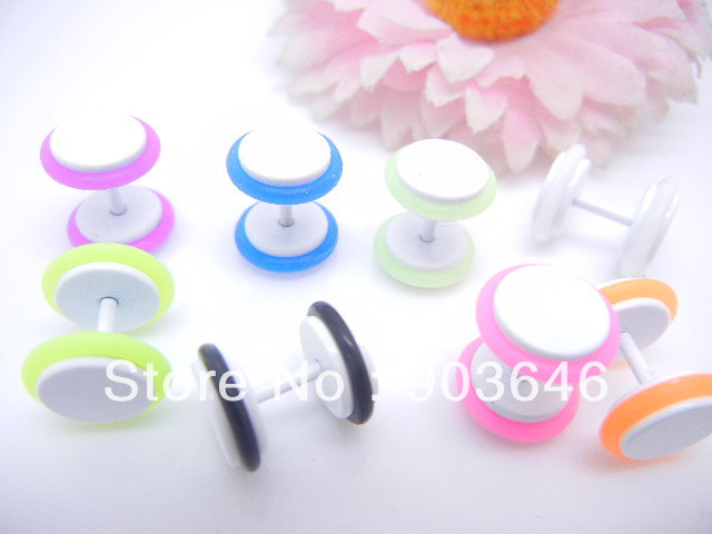 50pcs Body Jewelry- Cheat Plugs Fake Ear Plugs Ear Studs/Earring Illusion Tunnel Look 8mm With Nice O Rings