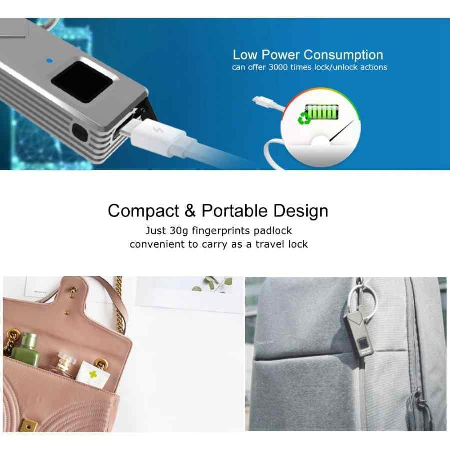 Mini Keyless Lock Waterproof Biometric Fingerprint Padlock For Suitcase Cabinet Door Silver Suitcase Padlock