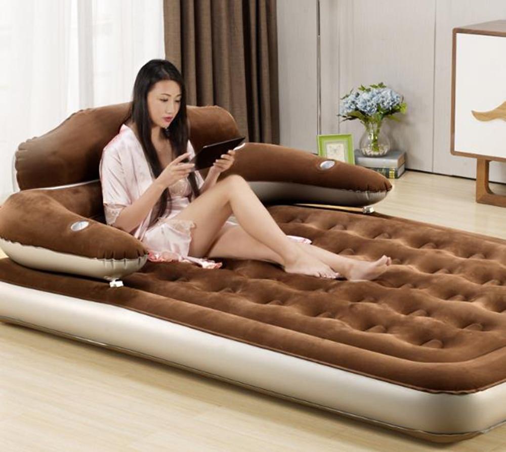 152*203*22 cm matelas d'air bande dessinée dos matelas maison chambre lit d'air tapis de plage paresseux canapé matelas gonflable avec pompe électrique