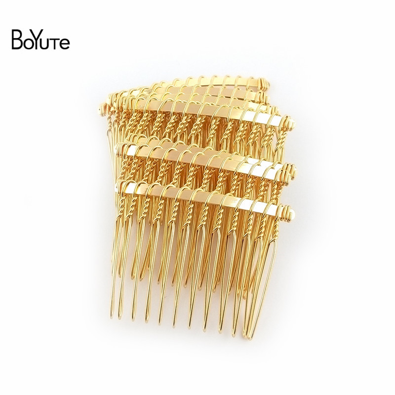 BoYuTe 10Pcs Vintage Hand Made Diy Wire Comb Metal Hair Comb Base 6 Colors Plated Women's Diy Hair Jewelry Accessories (4)