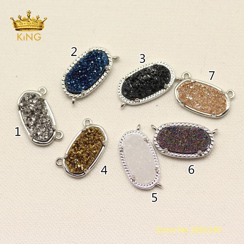 7x14 мм 5 шт. Мода Druzy разъемы Craft Цепочки и ожерелья, титан Drusy купля камень с серебряной Медь залог ссылки браслет YS05