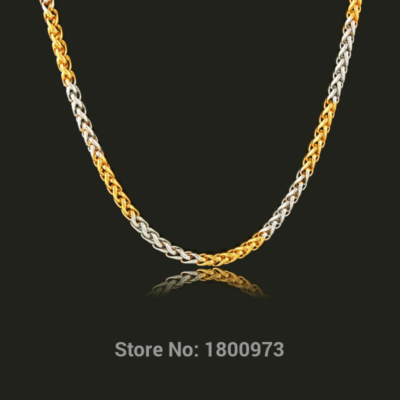 Two tone hiphop gold chain necklace men women jewelry18k yellow gold two tone hiphop gold chain necklace men women jewelry18k yellow goldsilver plated 3mm 55cm twisted singapore chains wholesale in chain necklaces from aloadofball Images