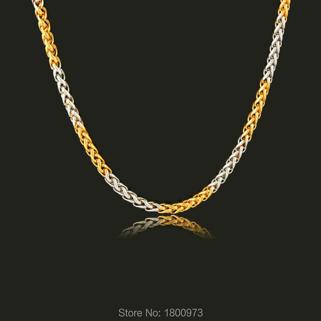 Two tone hiphop gold chain necklace men women jewelry18k yellow gold two tone hiphop gold chain necklace men women jewelry18k yellow goldsilver plated 3mm 55cm aloadofball Image collections