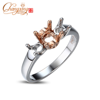 5 5mm And 4 0mm Round Three Stones Solitaire Engagement 14k Gold Semi Mount Ring