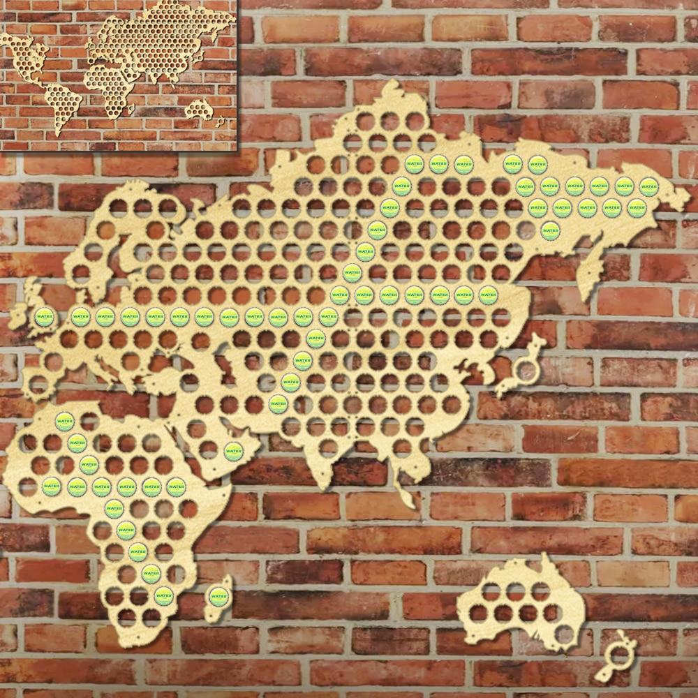 1Piece World Map Bottle Beer Cap Map Wooden Craft Wall Art ...