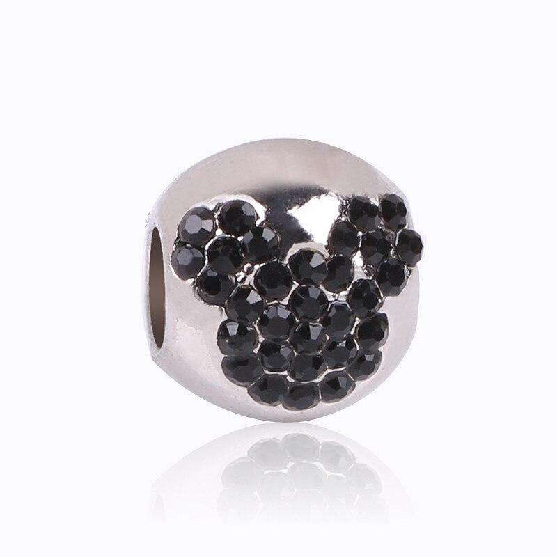 8824a9db0dd9 1 unid nuevo negro europeo Mickey encanto estilo de moda Aleación de  cuentas Pandora pulseras