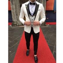 White Men Wedding Suits 2019 Groomsmen Slim Fit 3 Pieces Tuxedo Jacket+Pants+Vest Party Mens with Pants
