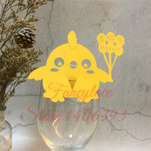 60pcs/lot Laser Cut Chicken Balloon Kid Baby Shower Birthday Party Table Name Wine Food Guest Seats Place Cards Favor Decoration
