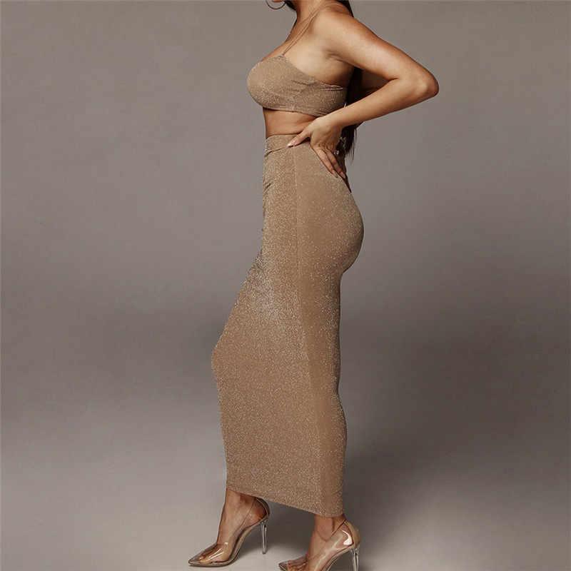 المرأة لامعة المحاصيل توب تنورة طويلة قطعتين مجموعة الزي للنساء بلايز التنانير 2 قطعة تنورة مجموعة الصيف المرأة الدعاوى S L