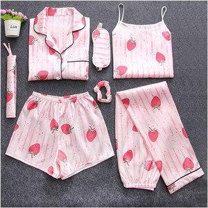 Image 2 - Fdfklakฤดูใบไม้ร่วง 2020 ใหม่ 7 Pcsชุดนอนชุดนอนชุดนอนฤดูร้อนผู้หญิงชุดนอนPijamaเซ็กซี่ผ้าไหมดอกไม้Sleepเสื้อผ้าเสื้อผ้า