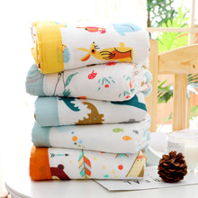 4 Layers bamboo fiber soft summer muslin blanket dinosaur fox baby swaddle wrap Bath Towel receiving