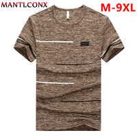 MANTLCONX grande taille M-9XL hommes t-shirt hauts t-shirts 2019 été séchage rapide à manches courtes t-shirt décontracté casual Fitness t-shirt hommes t-shirts