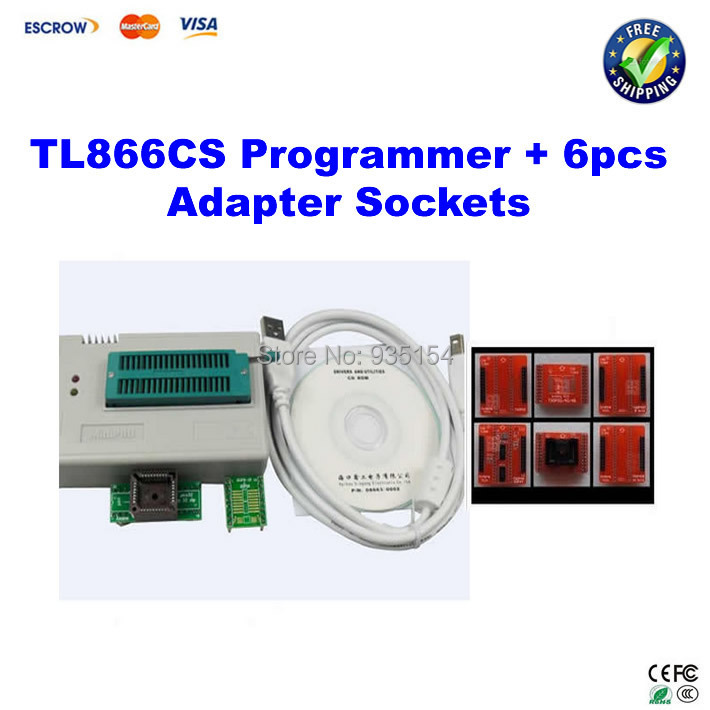 Free ship! Mini Pro TL866CS High-Performance Universal USB Programmer + TSOP48/TSOP40/TSOP32 6pcs adapter IC sockets