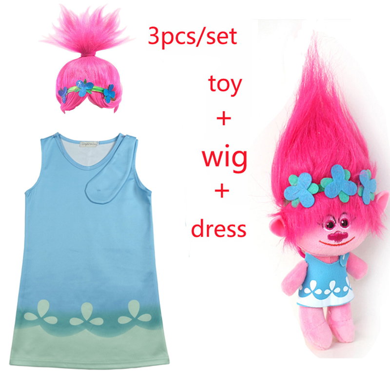 Children trolls Dress toy Costumes Girls Summer dress For Party Kids poppy lace Dresses Princess Dress Vaiana Party Vestido trolls wig dress set new year costumes for girls halloween carnival dresses moana clothes children vaiana party dress vestidos