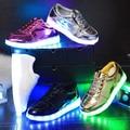 Moda crianças USB de carregamento sapatos luminosos Chaussure Led meninos Enfant meninas Led luminoso sapatilhas crianças cesta levou sapatos