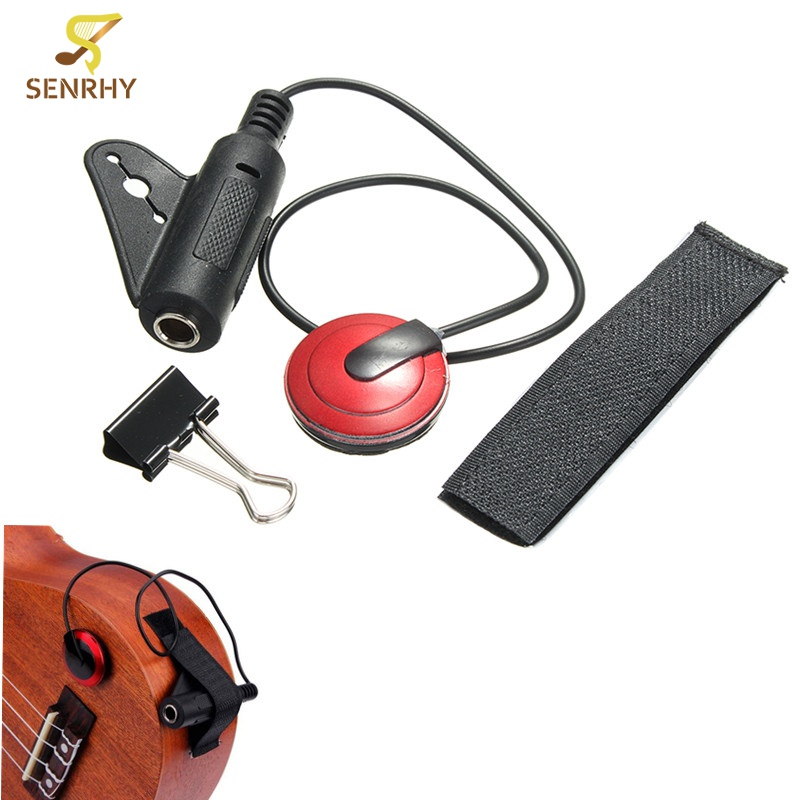 Acoustic Contact Microphone Pickup with Clamp Strap For Guitar Violin Ukulele For Musical Instrument Guitar Parts & Accessories acoustic electric pickup piezo transducer for guitar ukulele violin cable new