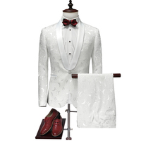 2019 Italian Mens Suits White Floral One Button Wedding Party Suits Groom Tuxedos Groomsmen 2 Piece Suit Costume Mariage Homme
